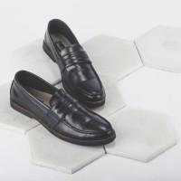 Sepatu Kulit Pantofel Formal Pria Giant Flames Harper Black Garansi