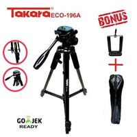 Tripod Takara Eco 196A / 196a + Bag + Holder Handphone Dudukan hp