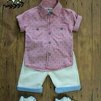 Baju anak laki import branded kemeja crown pink double pocket fashion