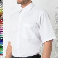 Kemeja DENVER B8-14 Baju Kerja Cowo Lengan Pendek Polos Putih