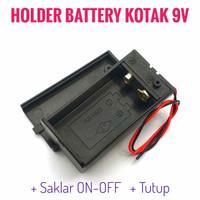Holder Battery Kotak 9V dengan Saklar dan Tutup Dudukan Baterai