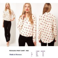 PENGUINS PRINT SHIRT - RED. Made in Morocco - FACTORY OUTLET BRANDED