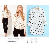 PENGUINS PRINT SHIRT - BLACK. Made in Morocco - FACTORY OUTLET BRANDED