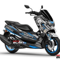 Decal Stiker Yamaha NMAX BLUE SILVER WOLF REGENERATE