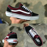 Sepatu Vans Oldskool Maroon Black Premium Original / Pria Wanita Kets
