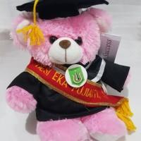 Boneka Wisuda Puffy Bear 30cm putih plus Bordir Selempang
