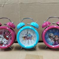 Jam Weker Kecil Karakter Hello Kitty, Doraemon, Frozen, Pony, Cars