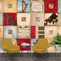 Wallpaper Printing Motif Music Custom
