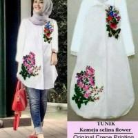 murah baju muslim kemeja tunik putih hem wanita blouse tunic longshirt