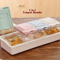 Tempat Bumbu 4 in 1 Set Warna Warni Gula Garam Merica Box Storage Rak