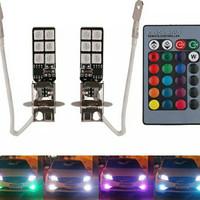 LAMPU FOGLAMP H3 LED RGB ANEKA WARNA DENGAN REMOTE
