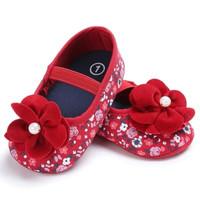 Sepatu prewalker pesta bayi import Mothercare merah bunga red flower 7a7a272279