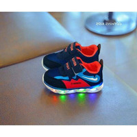 Sepatu walker anak import navy red sporty model Puma perekat lampu LED