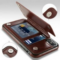Leather Smartphone Case with Mini Wallet for iPhone X - Black