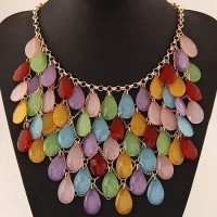[KALUNG] 01D61Cr Forever 21 Waterdrop Shape Decorated Multilayer