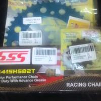 GEARSET R25,FULL RACING 415 ALUMUNIUM BLUE & RANTAI HSB2T