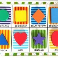 Mainan Anak Kayu Edukasi / Edukatif - Puzzle Chunky 8 Bentuk