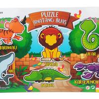 Mainan Kayu Edukasi - Puzzle Sticker Seri Binatang Buas