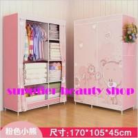 [HB303] Multifunction Wardrobe / Cloth Rack with cover lemari pakaian