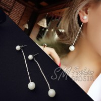 Anting Import Korea Beads Mutiara Ornamen Rantai Panjang Juntai (E240)