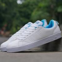 Sepatu sneakers casual adidas advantage putih biru cewek women wanita