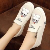 Sepatu Wanita Casual Slip On Kucing SDS251 Putih