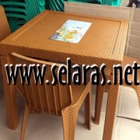 Meja Makan Motif Anyaman Rotan Napolly MM 7388 tanpa kaca