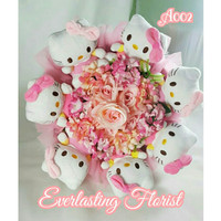 Jual Bucket Hello Kitty (A002) Buket Bunga Boneka Bouquet Wedding Wisuda Murah