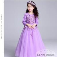 Dress Gaun Pesta Kostum Anak Rapunzel Sofia ungu by Lynn Design