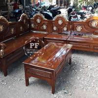 Meja Kursi Ruang Tamu Sudut Bahan Kayu Jati Ukir Jepara GRATIS ONGKIR