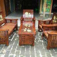 Meja Kursi Untuk Ruang Tamu Kayu Jati Ukir Warna Kombinasi Free Ongkir