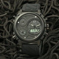 Jam Tangan Pria Digitec DG-3064T Triple Time & Digital Black Grey Rubb