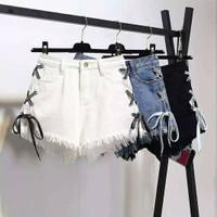 Black Lace Sided Strap White Shorts (Pants) / Celana Pendek Short