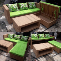 Set sofa L multifungsi storage rotan sintetis