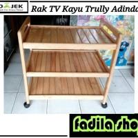 Rak TV Kayu Trully Adindah - Meja Dorong Kayu Murah