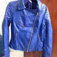Jaket Kulit asli Biru Ukuran S Zen Korea Mulus Bekas Adem Motor