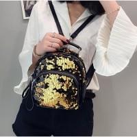tas backpack ransel elegan wanita fashionista hitam bling semi abstrak