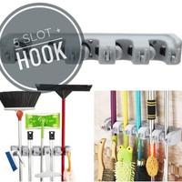 Gantungan Hook sapu alat pel dengan hook 5 slot magic mop holder