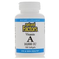 Natural Factors, Vitamin A, 10,000 IU, 180 Softgels
