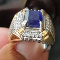 C389 Cincin pria blue safir sapphire kotak Ring titanium no 18,5/8.25
