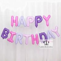 SET Balon Foil Huruf Happy Birthday isi 13 huruf - PASTEL