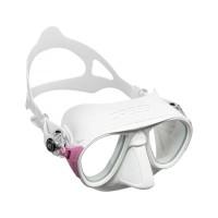 Cressi Calibro White Pink Freediving Mask, Masker Freedive Low Volume