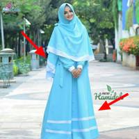 Setelan muslim Hamidah syari blue + khimar/Gamis syari+Jilbab
