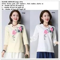 Baju Atasan Blouse Cheongsam Wanita Korea Import AB833188 Putih White
