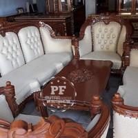 Sofa Ganesa lengkung, Meja Kursi Ruang Tamu Kayu Jati Ukir Free Ongkir