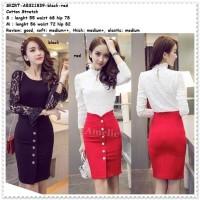 Rok Span Mini Skirt Wanita Korea Import AB321839 Hitam Merah Black Red