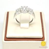 Cincin Emas Putih Tunangan 750 Berlian Asli Berat 5 gram Harga murah