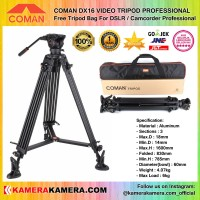 Jual COMAN DX16 VIDEO TRIPOD PROFESSIONAL free Tripod Bag for Camcorder Pro Murah