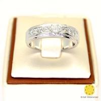 Cincin Emas Putih Pernikahan Kawin Berlian 1.1ctw Asli Murah Hari ini