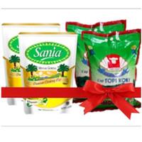 Paket Bundle Sembako 2 Beras Topi Koki 5Kg &2 Minyak Sania 2L